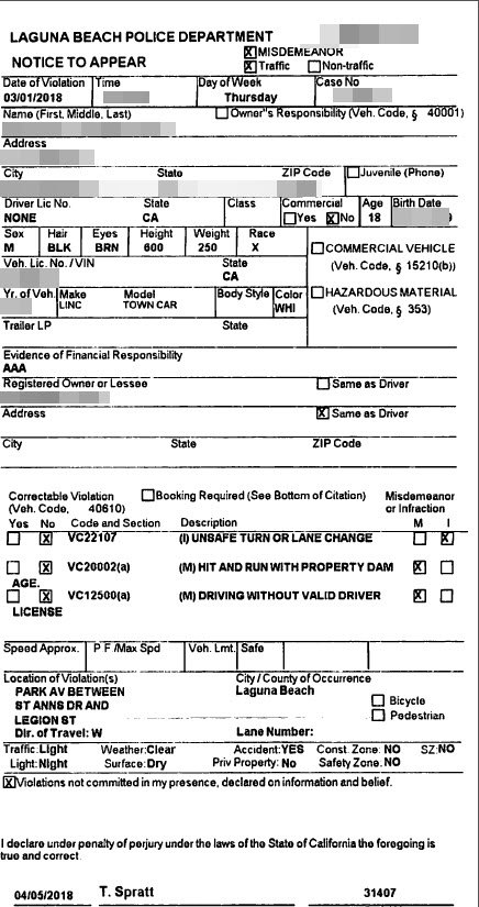 picture showing citation from the laguna beach police departmetn for a hit and run