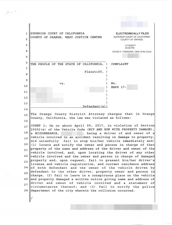 picture showing hit and run charges against a person filed by the orange county distrcit attorneys office