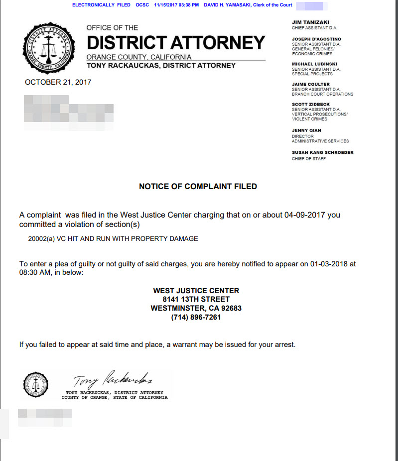 a letter send from Orange county district attorneys office to a hit and run defendant