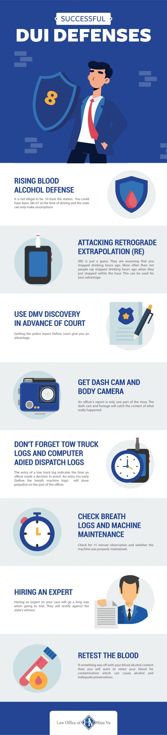 Infographic showing 8 common DUI Defenses