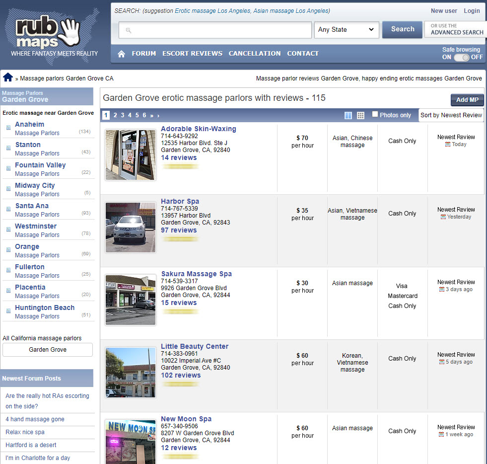 shows a listing of massage parlors on rubmaps