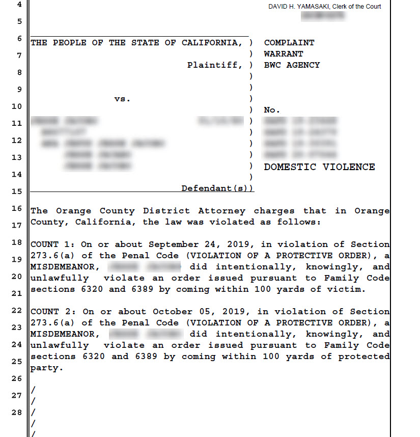 shows a complaint by the OC District attorney office alleging a violation of a protecticve order